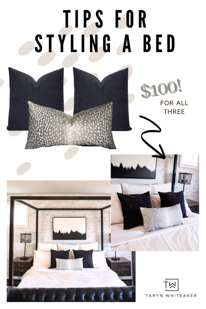 Does your bed feel a little boring? Spruce Up Your Bedding for just $100 and give it a whole new luxe look using neutral throw pillows.