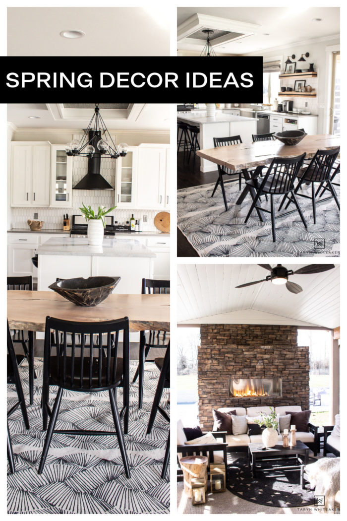 Take a tour of this black and white rustic modern home with touches of spring decor.