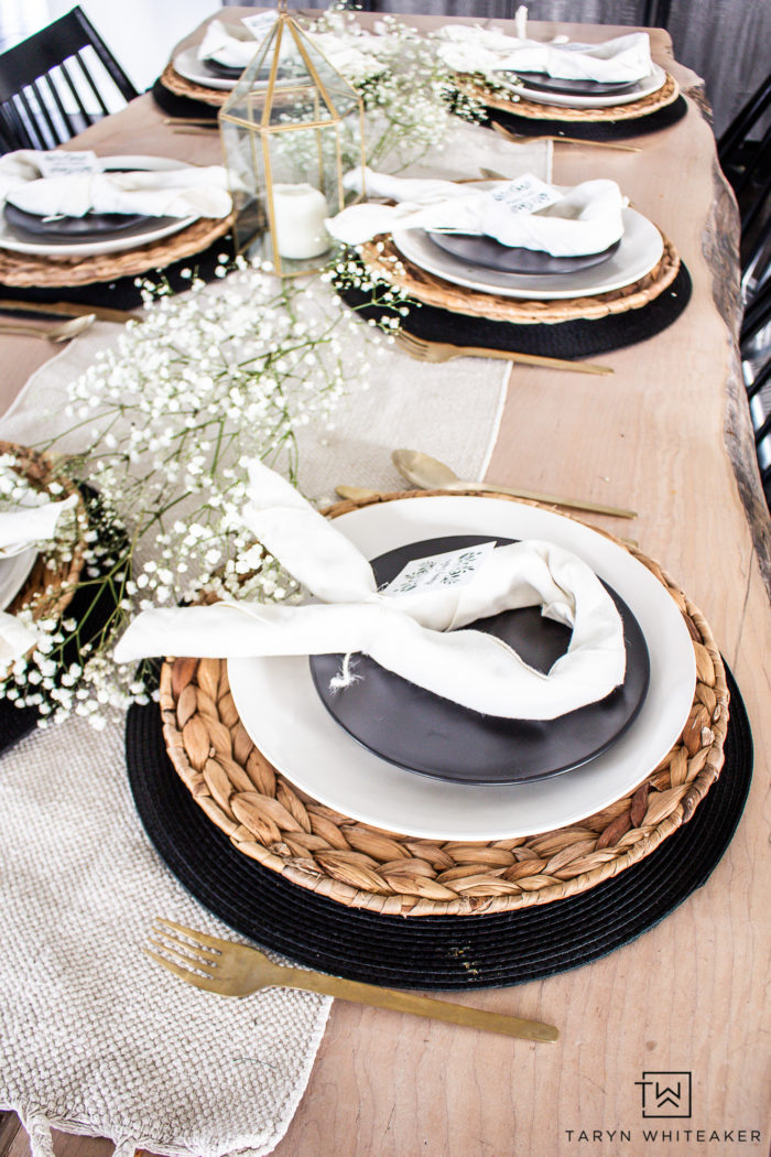 Easter table decor with neutral tones and touches on baby's breath.