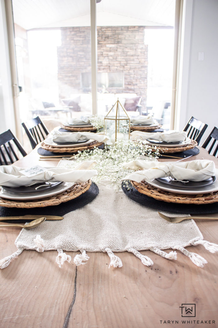 Organic modern Easter Tablescape with baby's breath and cute bunny napkins