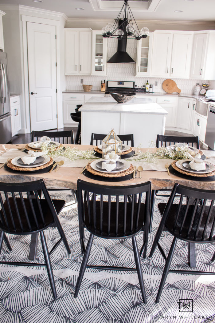 Black and white spring tablescape with rustic touches.