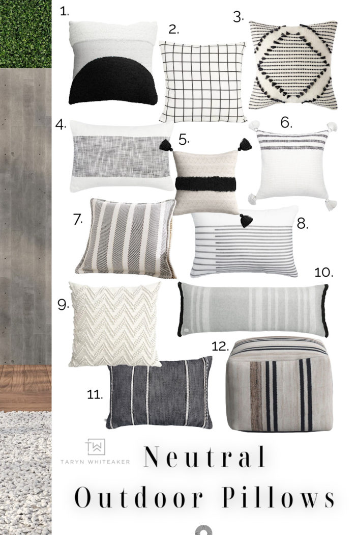 Browse this collection of Neutral Outdoor Pillows filled with modern designs and tons of texture. Spruce up your porch with these!