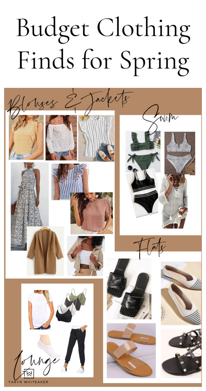 Here are some amazing budget friendly spring clothing finds for women! From inexpensive swim suits to cute flats and tops.