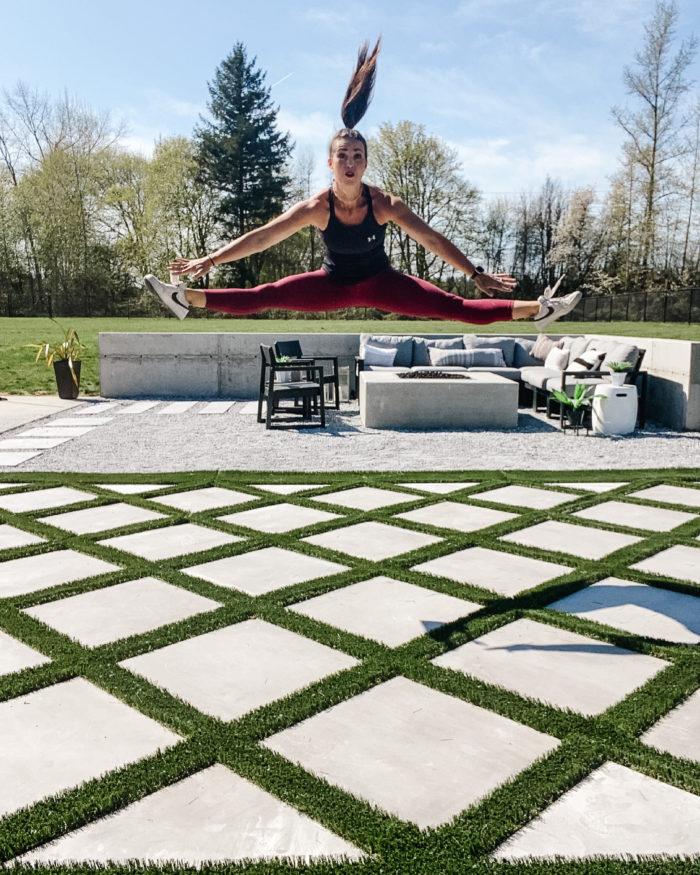 Backyard landscape design with grid turf design