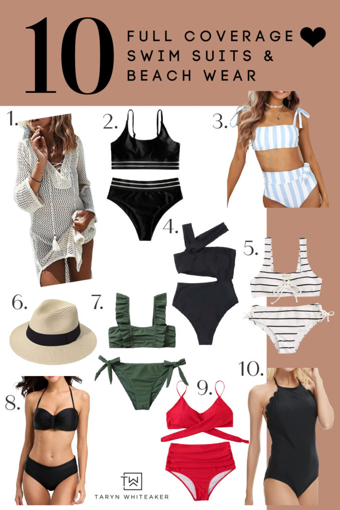 Top 10 full coverage swim suits and beach wear! All budget friendly!