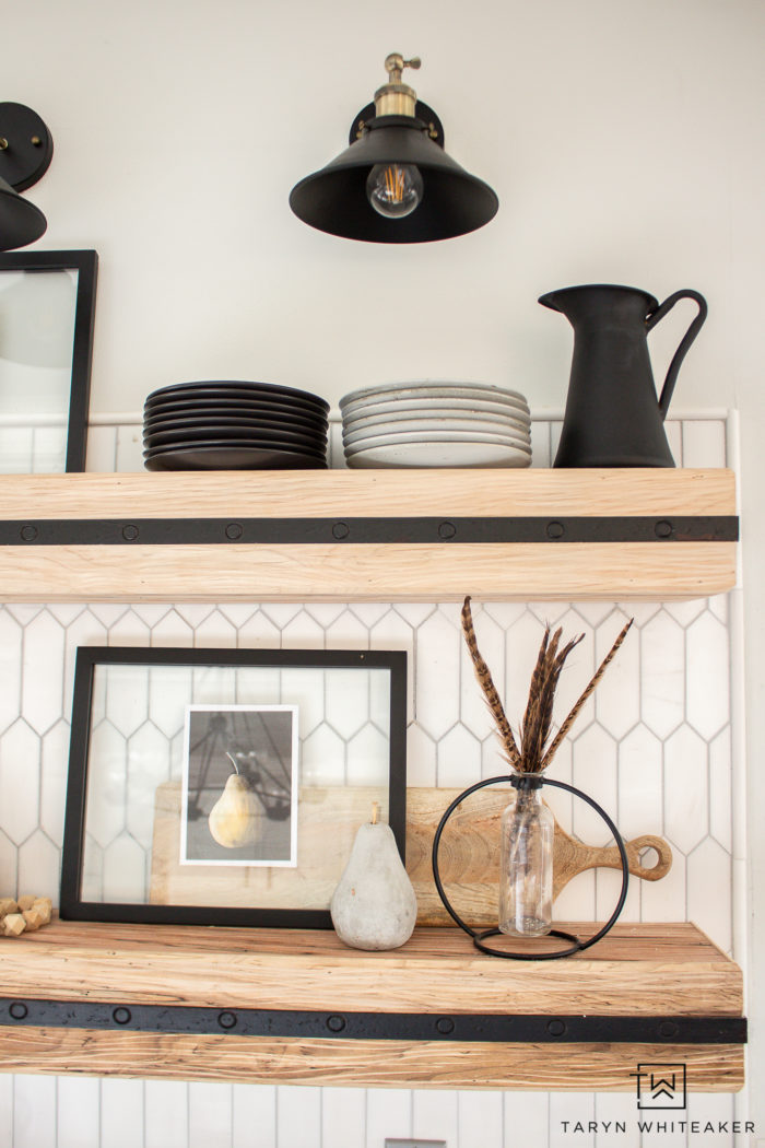 styling open shelving in the kitchen with modern moody tones