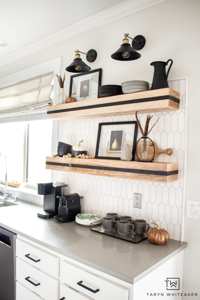 Coffee station in a modern kitchen with open wood shelving!