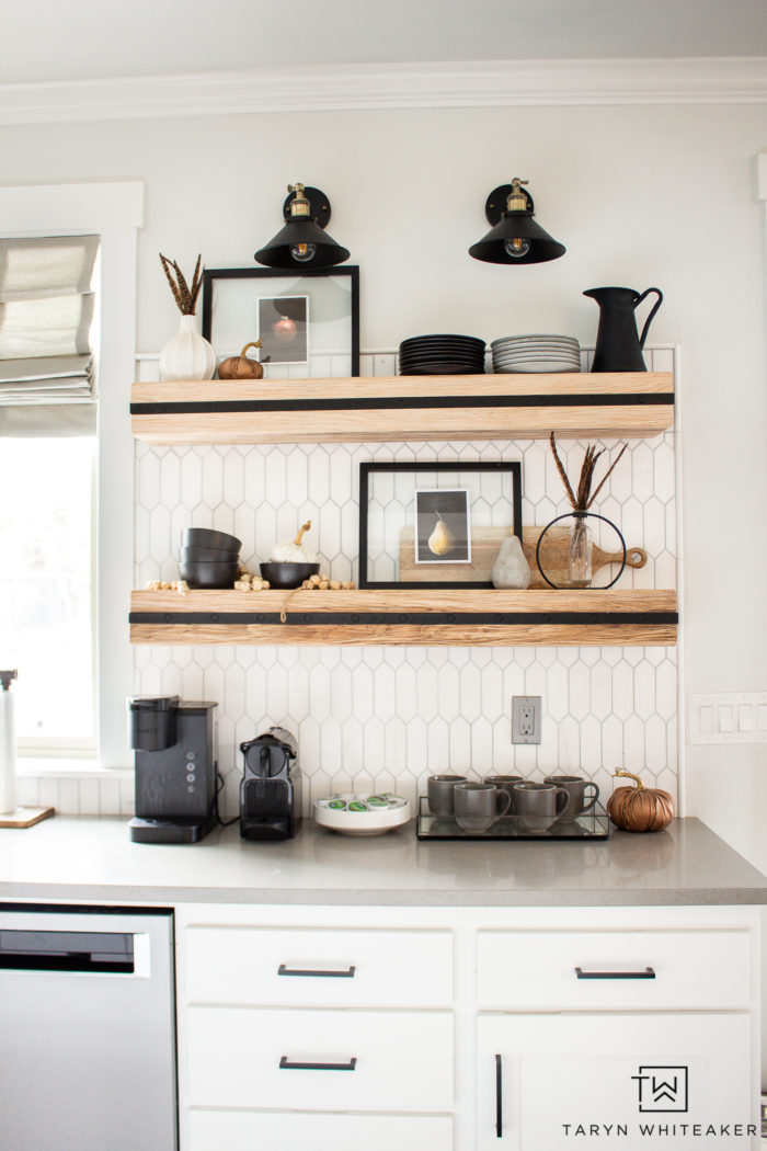 Fall shelf styling ideas! Get some tips on how to add subtle fall decor items to your home using texture, colors and warmth!