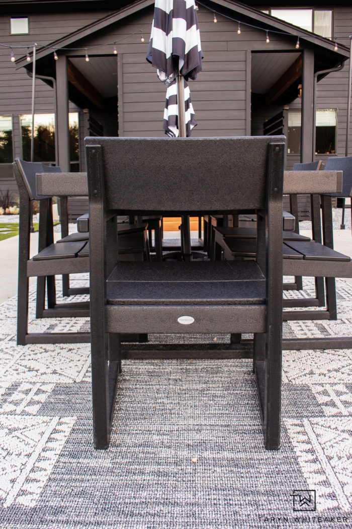 Modern Outdoor Dining Space using two Polywood EDGE Dining Tables to create a large 12 person outdoor dining table.