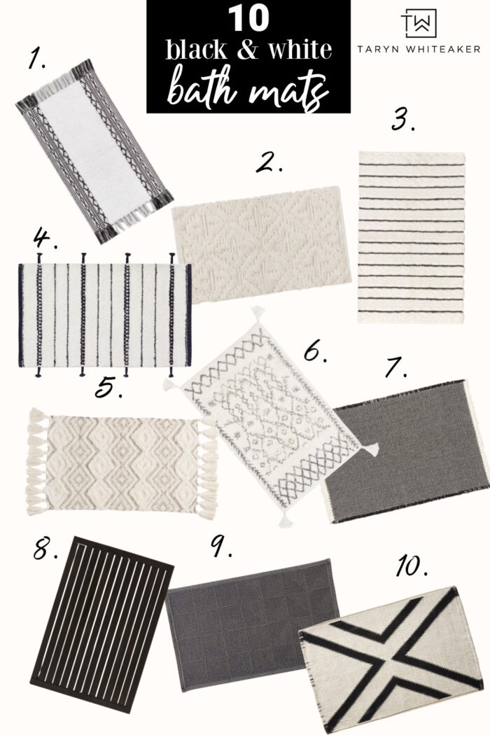 collection of black and white bath mats for your modern bathroom decor!