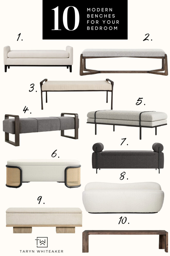 Take a look at these modern benches for a bedroom! These would add a statement to the end of your bed and add a cozy place to sit!