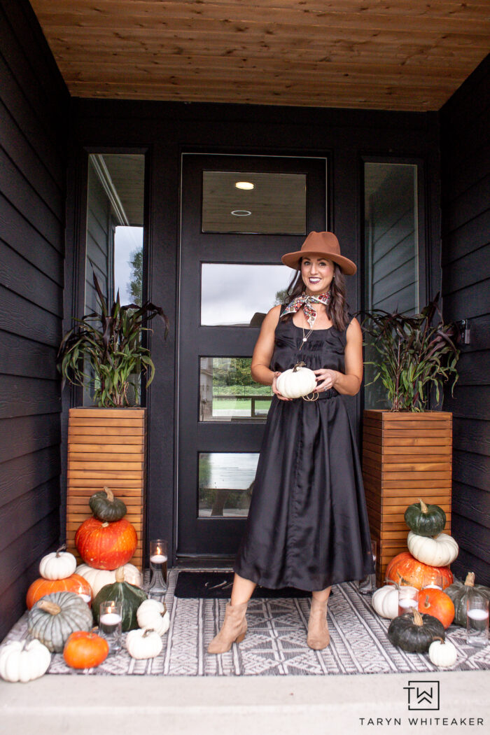Dressy fall outfit with black dress, boots, hat and scarf