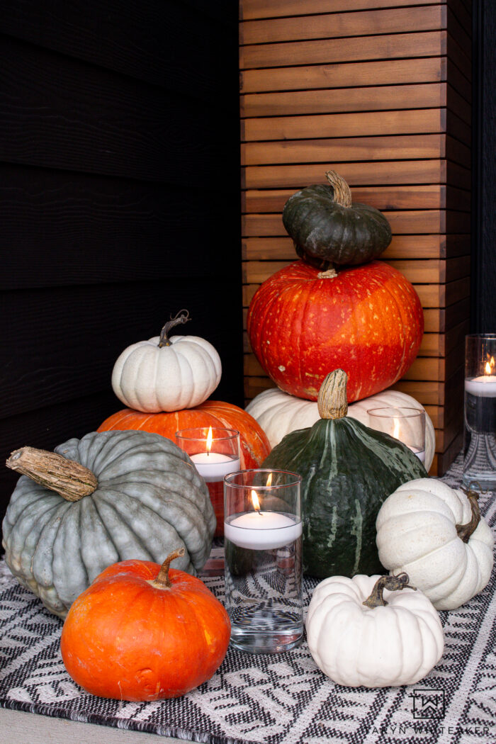 heirloom pumpkin display on front porch